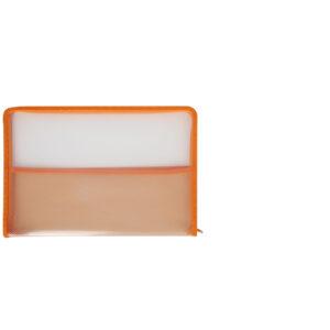 Clear-with-orange-border-zip-bag-folder