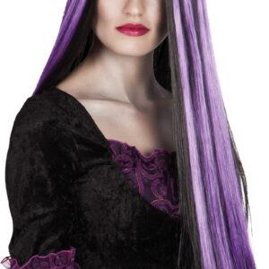 لونا-الساحرة-شعر مستعار أسود، الأرجواني الشرائط