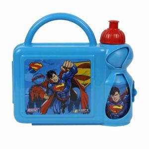 العدالة في الدوري-سوبرمان-الزرقاء الغداء مربع مع زجاجة مياه