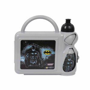 العدل والجامعة-باتمان-رمادي-ونتشبوكس مع زجاجة مياه