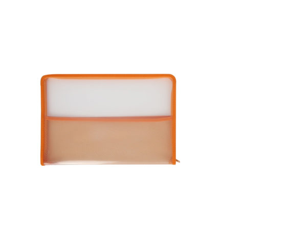 Clear-with-orange-border-zip-bag-folder