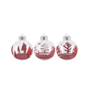 Clear -Ornament- ball -with- Red -Glitter