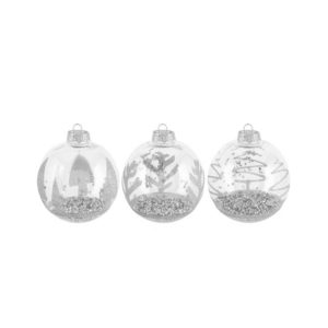 Clear ornament ball with silver glitter