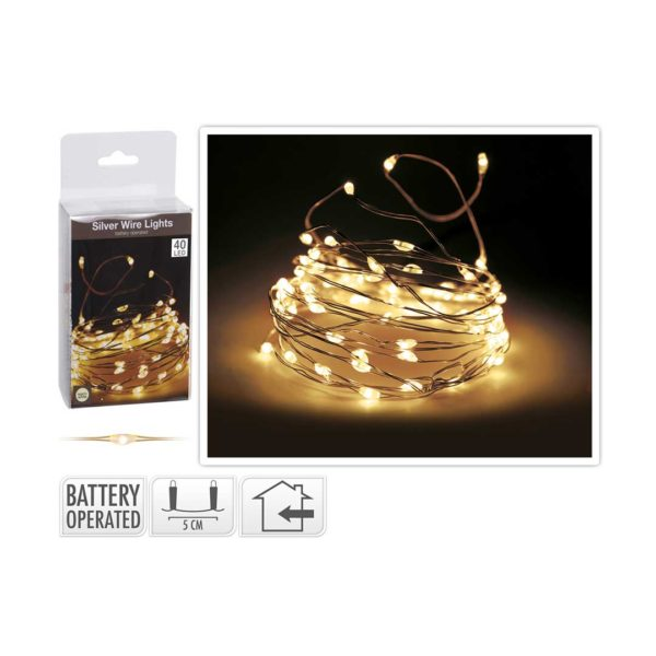 SILVER-WIRE-GOLDEN-40 LED- FLASHING BULBS - BATTERY-OPERATED