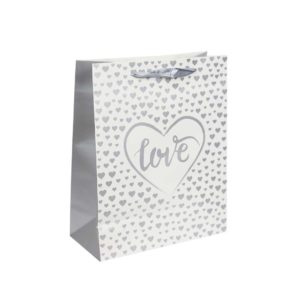 Valentines Love Silver White Gift Bag