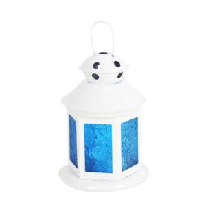 رمضان - فوانيس - أبيض - أزرق - زجاج