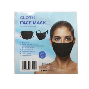 2 Black Cloth Face Mask