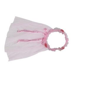 Pink Flower Tiara with Veil