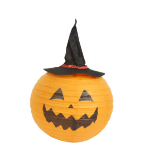 Pumpkin Paper Lantern with Witch Hat